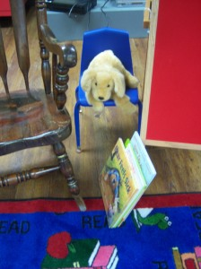 Applesauce, our storytime mascot!